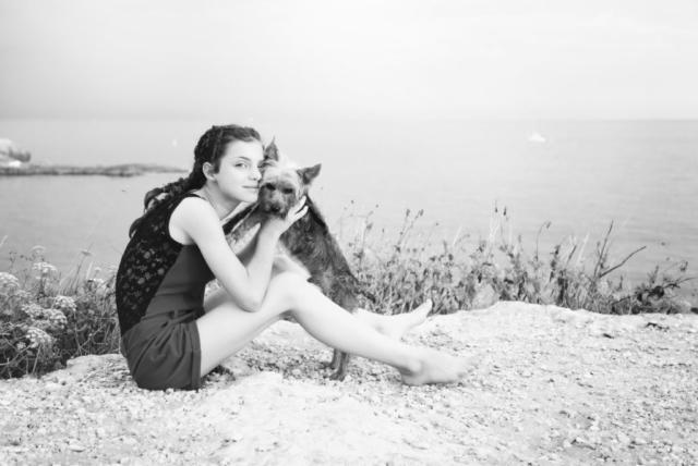 Photographe animaux de compagnie, chien et sa maîtresse